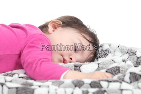 asleep tod infant white background