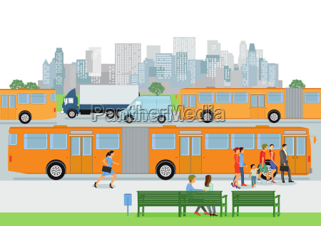 bus stop with regular bus and