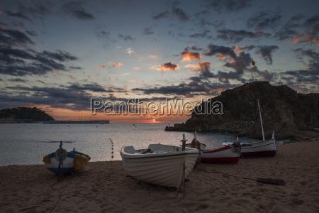spain catalonia blanes beach sunrise at