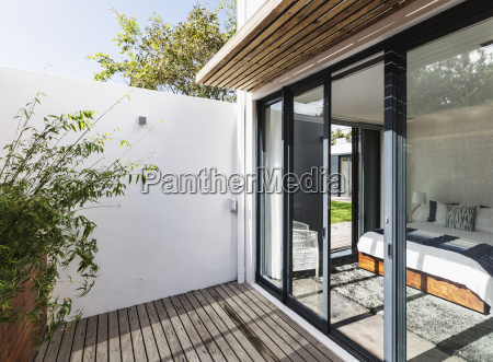 sunny modern home showcase patio and